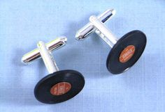 LP Cufflinks Vinyl Handcuffs Record with Box in blue red or green Musik. €16.99, via Etsy.