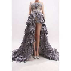 Stunning Silver Strapless Sequin Satin High Low Prom Dress