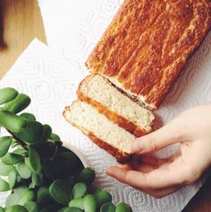 So this is our second attempt at a low-carb bread loaf - the first being a catastrophic event including flax meal and feelings of sev. Bread Alternatives, Low Carb Bread, Lchf, Food To Make, Sandwiches, Deserts, Health Fitness, Coconut, Meals