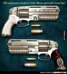 454 magnum revolver with 30mm grenade launcher