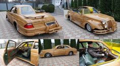 Half-retro, half-modern wooden car