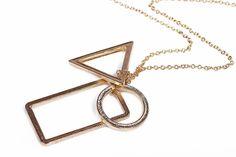 Punk geometry circle square design long necklaces