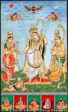 Shri Rama Durbar Artist: Chandrika Mysore Painting, Water Color on Paper (via Exotic India) Mysore Painting, Kerala Mural Painting, Tanjore Painting, Indian Traditional Paintings, Indian Paintings, Om Namah Shivaya, Indian Gods, Indian Art, Señor Krishna