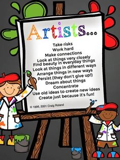 "With the permission of Craig Roland I have taken his excellent list called, ""Learning to think like an artist means;"" and adapted it for young art students and great thinkers! I have added some fun fonts, colors and designs to make this a useful poster for your room."
