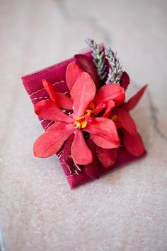 Red Mokara Orchids, fresh Lavender, red accent backing; Flowers by Snellings Photo by Julie Napear Photography