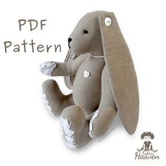 """11"""" Lacy Bunny, Floppy Eared Bunny PDF SEWING PATTERN & Easy Instructions"""