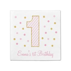 Pink & Gold Glitter First Birthday Napkins