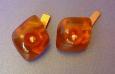j54 Vintage USSR men jewelry Baltic Amber gems Gold plated CUFFLINKS 9g signed