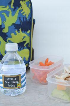 Back To School Water Bottle Labels & Healthy Lunch Idea - Our Thrifty Ideas School Water Bottles, Cute Water Bottles, Water Bottle Labels, Toddler Meals, Toddler Activities, Kids Meals, Toddler Food, Kids Labels, Best Blogs