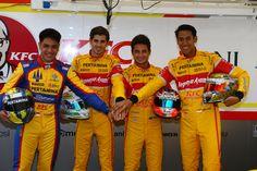 2016 GP2 racing drivers.  Philo Paz Armand - Antonio Giovinazzi - Mitch Evans - Sean Gelael. Round 1 Barcelona, Circuit de Cataluna