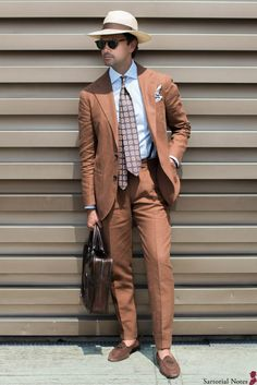 Tobacco linen suit at Pitti Uomo 92