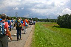Vierdaagse op de dijk langs de Waal. De vierdaagse is het grootse meerdaagse wandelevenement ter wereld en, met de vierdaagsefeesten, het grootste publieksevenement van Nederland.
