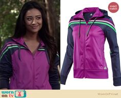 Emily's purple track jacket on Pretty Little Liars.  Outfit details: http://wornontv.net/18144/