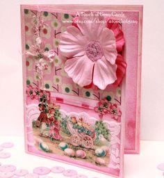 Springtime Stroll  Vintage Inspired Handmade Easter Card