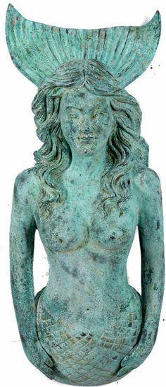 "Shipwreck Finish Life Size Figure Head Mermaid 34""h Nautical Tropical Home Decor"