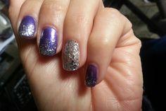 Purple nails glittered up Purple Manicure, Purple Glitter Nails, Prom, Beauty, Senior Prom, Beauty Illustration