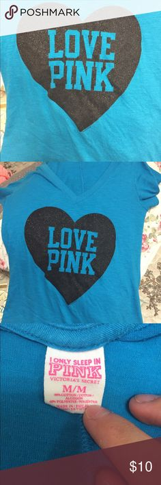 Vs Pink Shirt Supposed to be a pj shirt but I always wore it as a regular t shirt with jeans. Super cute and very soft. No holes or stains noticed. No fading of the sparkle heart noticed PINK Victoria's Secret Tops Tees - Short Sleeve