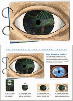 Make an eye collage, Magritte style. PDF tutorial included. #artjournal