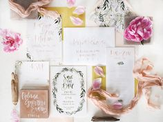 This suite for Dee + Eric started out as a lush green design with plenty of  botanical elements when I shared the Save the Date design here. As we moved  on to create the actual invitation, the bride wanted to soften things up by  adding in a bit of blush. I couldn't have come up with a better solution  for creating this perfect mix of masculine meets feminine.  We pulled illustrations from the original wreath used on the save the date,  painted by Megan Heddinger, and repositioned them…