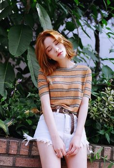 korean fashion x stripes x shorts Korea Fashion, Asian Fashion, Fashion Beauty, Girl Fashion, Ulzzang, Summer Outfits, Cute Outfits, Summer Ootd, Korean Fashion Summer