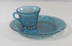 Tiara Glass SANDWICH-BICENTENNIAL BLUE Cup & Snack Plate Set(s) Multi Avail  Ex!
