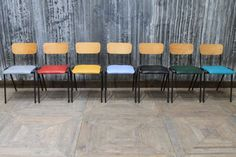 Colourful new additions to our expansive vintage seating collection, these stackable upholstered chairs come in seven colours. Large quantity in stock!