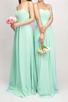 simple long mint bridesmaid dresses $138