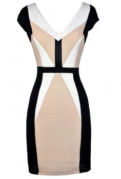 Cute Colorblock Dress, Black and Beige Colorblock Dress, Black and Beige Pencil Dress, Colorblock Pencil Dress, Black and Beige Business Casual Dress