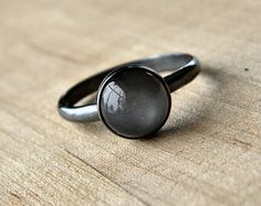 Grey Moonstone Ring, Platinum Gray Moonstone and Oxidized Sterling Silver Ring - Made to Order