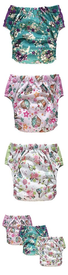 3-Pack Convertible 3-in-1 Cloth Diapers Hybrid w/Pocket & Inserts: Everyday Use, Swim or Potty Training (Size 2 / 15-35Lb, Girl)