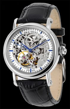New Sea-Gull silver-colored skeleton automatic watch. New with Box. Cheap Watches, Stylish Watches, Men's Watches, Coach Purses Cheap, Cheap Coach, Pinterest For Men, Armani Watches For Men, Gentleman Watch, Skeleton Watches
