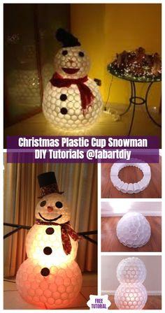 9 Best Plastic Cup Snowman Images Christmas Decor Christmas