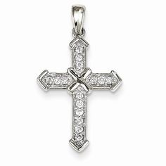 14k White Gold Passion Diamond Cross Pendant