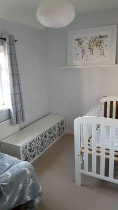 Pastel nursery, Dulux cornflower white walls, ikea kallax unit and animal map picture from www.notonthehighstreet.com