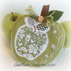 green apple cross stitch, embroidered felt