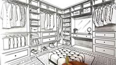 Drawing A Closet in Two Point Perspective,how to draw in Two point perspective,s. Drawing A Closet Interior Architecture Drawing, Drawing Interior, Interior Design Sketches, Best Interior Design, Classical Architecture, Perspective Room, Perspective Drawing, Interior Door Trim, Closet Designs