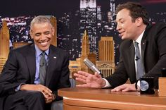 President Barack Obama speaks with Jimmy Fallon on the set of the 'The Tonight Show Starring Jimmy Fallon.'