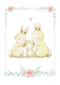 "Sarah saved to streichenFamily Art ""BUNNIES FAMILY"" Archival Print, Nursery Illustration, Family illustration, Watercolor family print, Nursery wall ar… Baby Prints, Nursery Prints, Nursery Wall Art, Nursery Drawings, Family Illustration, Cute Illustration, Watercolor Illustration Children, Art Fox, Lapin Art"