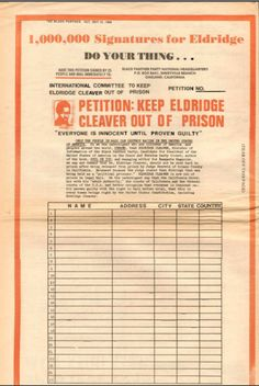 """""""1,000,000 Signatures for Eldridge. Do Your Thing...Petition: Keep Eldridge Cleaver out of Prison,"""" The Black Panther, October 19, 1968."""