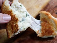 """Today's Sandwich: White Pizza Grilled Cheese (Homemade)    """"White Pizza Grilled Cheese."""" It combines ricotta, mozzarella, garlic, red pepper flakes, and fresh basil on toasted bread."""