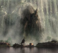 """ Relic of the Gone Age A relic of a long forgotten age, the Sentinel statue still stands guard over the ancient castle tower now buried beneath a huge waterfall. This project is a mix. High Fantasy, Medieval Fantasy, Sci Fi Fantasy, Fantasy World, Fantasy Landscape, Landscape Art, Fantasy Inspiration, Character Inspiration, Fantasy Places"