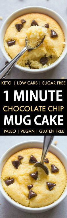 1 Minute Low Carb Chocolate Chip Mug Cake (Keto Sugar Free Paleo Vegan Gluten Free)- An easy recipe for a light and fluffy mug cake muffin ready in a minute or with an oven option too- NO grains and NO sugar! Moist Chocolate Chip Muffins, Chocolate Chip Mug Cake, Keto Chocolate Chips, Low Carb Chocolate, Healthy Chocolate, Vegan Mug Cakes, Keto Mug Cake, Dessert Ricotta, Paleo Dessert