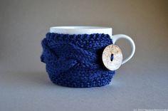 Cup Cozy in Navy Blue Coffee Mug Cozy  Winter Rain by natalya1905, $17.50