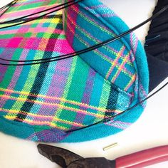 This is soooo satisfying. Inserting wire into the brim to finish off the piece. Thanks once again for your brilliant pattern. Plaid Scarf, Sewing Patterns, It Is Finished, Wire, Chic, Prints, Clothes, Shabby Chic, Outfits