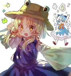 Suwako and Cirno Manga Kawaii, Kawaii Anime Girl, Moe Anime, Anime Art, Touhou Anime, Anime Child, Anime Girls, Arabic Art, Cute Anime Pics