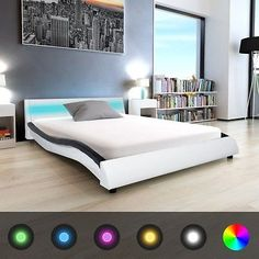 Comfortable Bed Frame Bedroom Double Modern Artificial Leather Black White LED