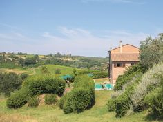Swimming pool set in a peaceful location with views of the surrounding countryside.
