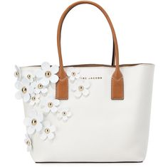 Marc Jacobs The Daisy Flower Tote Bag ($495) ❤ liked on Polyvore featuring bags, handbags, tote bags, lily white multi, white tote, studded tote, studded purse, floral purse and flower tote