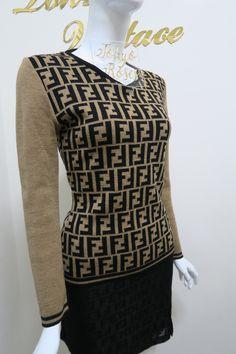 bb2fcdb0322 Vintage Fendi Brown   Black Zucca FF Logo Print Sweater. Home