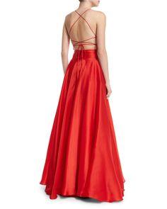 TBCDB Milly Sleeveless Crisscross-Bodice Organza Ball Gown